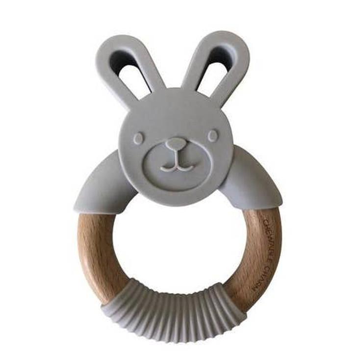 Bunny Silicone + Wood Teether - Light Grey | Chewable Charm