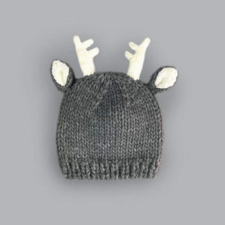 The Blueberry Hill Hartley Deer Gray Knit Hat