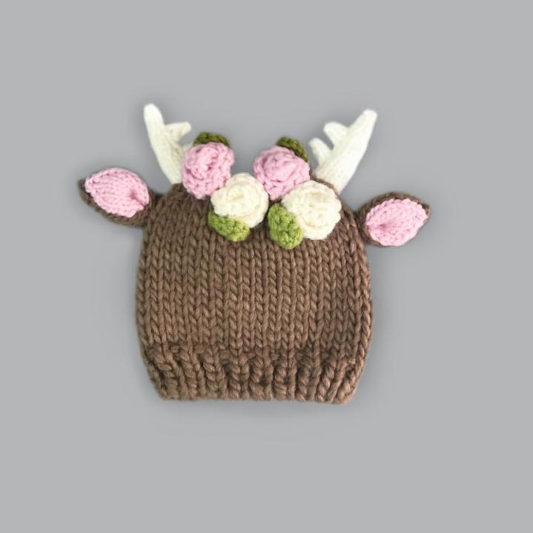 The Blueberry Hill Hartley Deer with Flowers Knit Hat