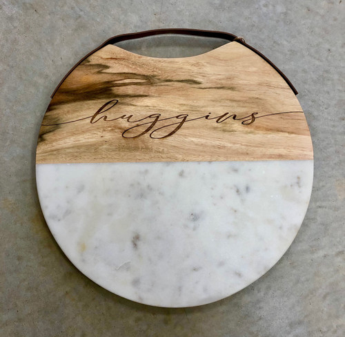 Marble + Wood Serving Tray