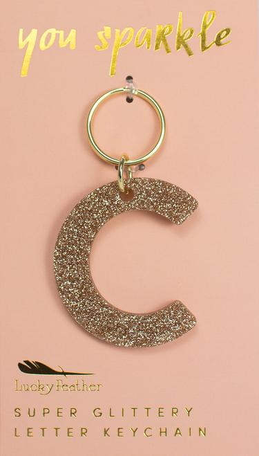 Glitter Keychain - Letter - C