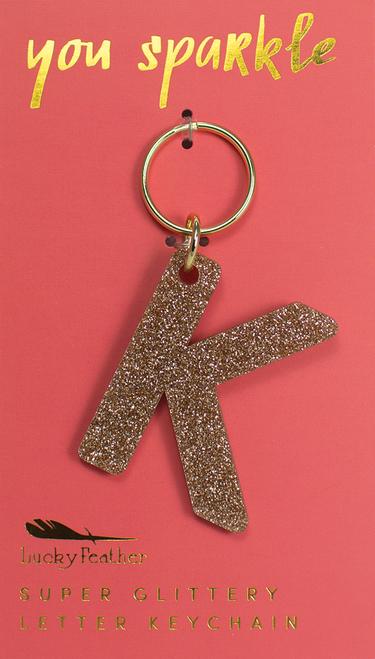 Glitter Keychain - Letter - K