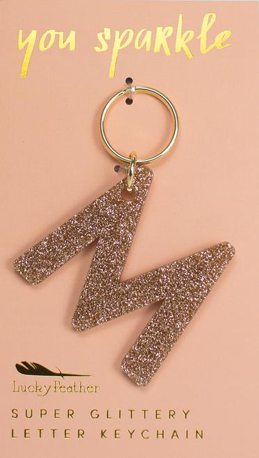 Glitter Keychain - Letter - M