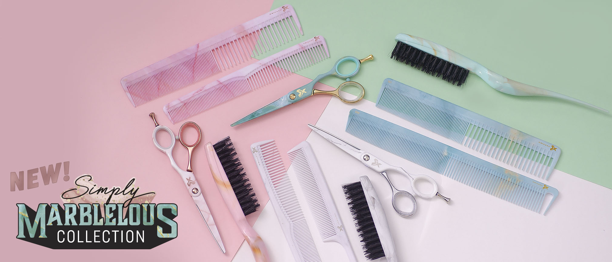 NEW Simply Marblelous Collection of SX shears, SX combs and Amped Up Teasing Brushes
