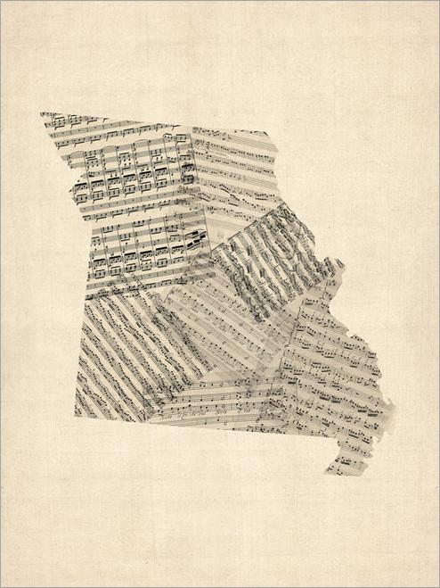 Sheet Music Missouri United States Map Poster Art Print