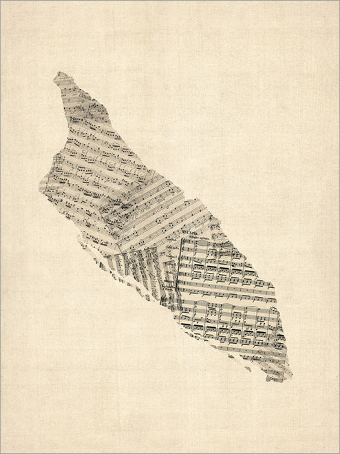 Sheet Music Aruba Map Poster Art Print