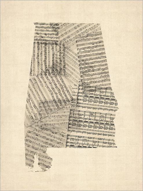 Sheet Music Alabama United States Map Poster Art Print