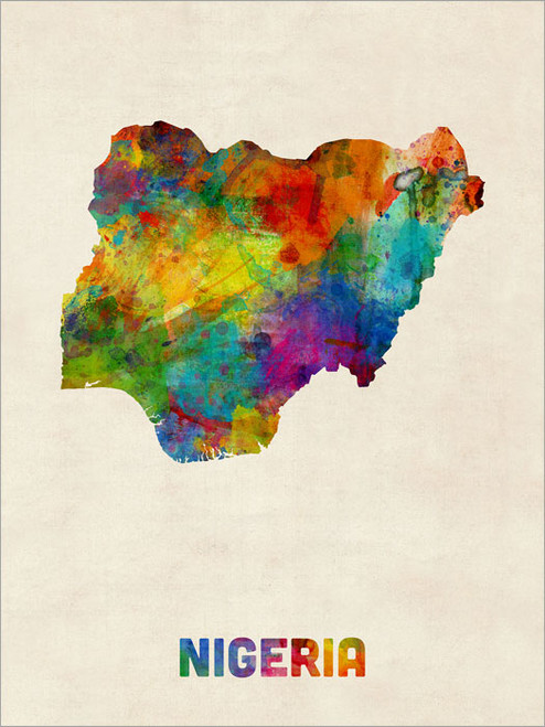 Nigeria Map Poster Art Print