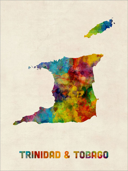 Trinidad & Tobago Map Poster Art Print