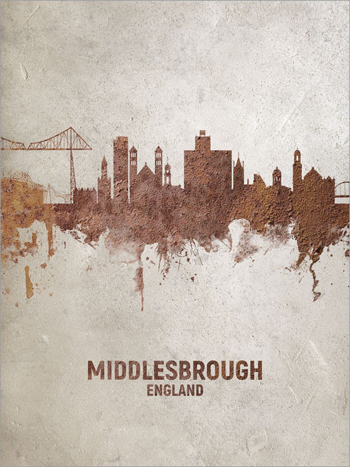 Middlesbrough England Skyline Cityscape Poster Art Print