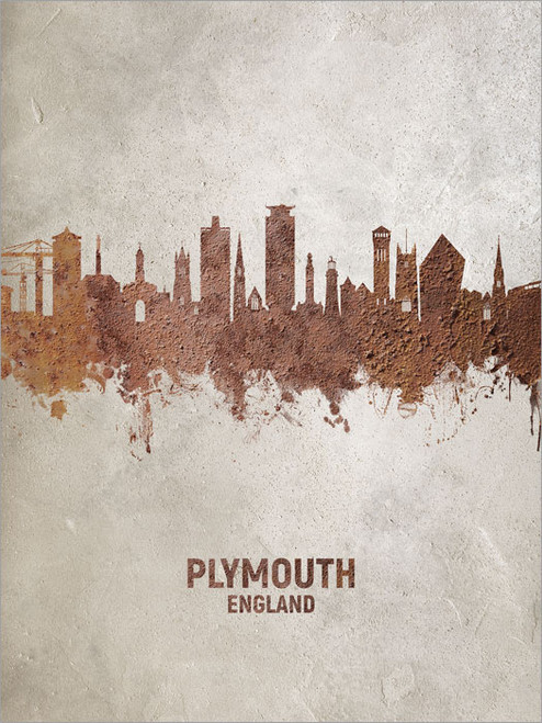 Plymouth England Skyline Cityscape Poster Art Print