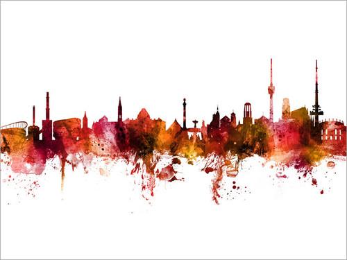 Stuttgart Deutschland Skyline Cityscape Poster Art Print