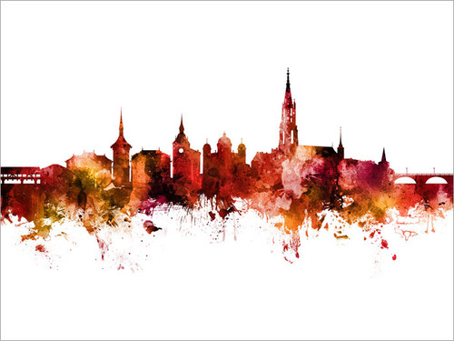 Bern Switzerland Skyline Cityscape Poster Art Print