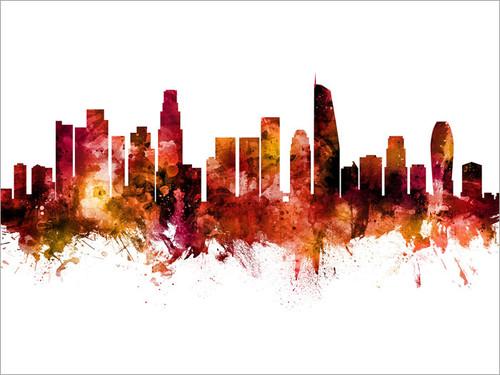 Los Angeles California Skyline Cityscape Poster Art Print