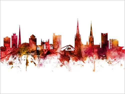 Coventry England Skyline Cityscape Poster Art Print