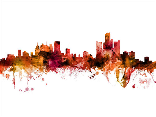 Detroit Michigan Skyline Cityscape Poster Art Print