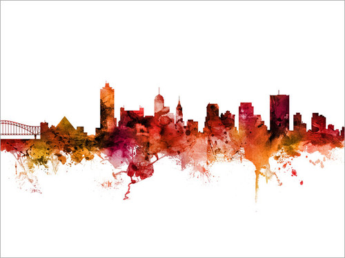 Memphis Tennessee Skyline Cityscape Poster Art Print