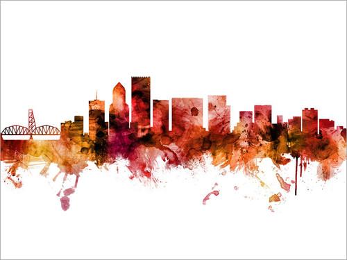 Portland Oregon Skyline Cityscape Poster Art Print