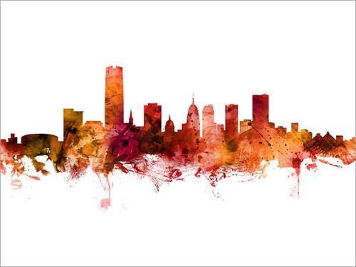 Oklahoma City Oklahoma Skyline Cityscape Poster Art Print