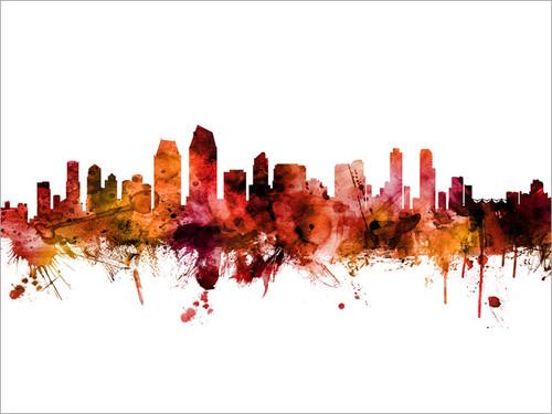San Diego California Skyline Cityscape Poster Art Print