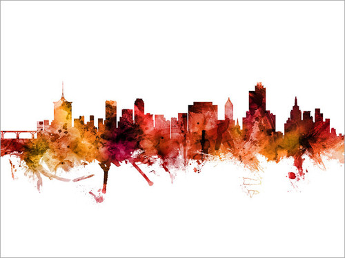 Tulsa Oklahoma Skyline Cityscape Poster Art Print