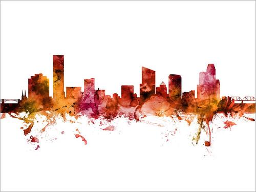 Grand Rapids Michigan Skyline Cityscape Poster Art Print