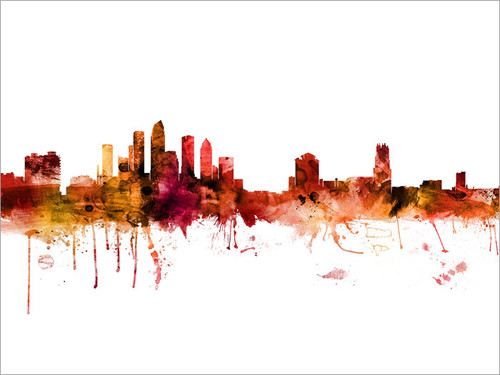 Tampa Florida Skyline Cityscape Poster Art Print