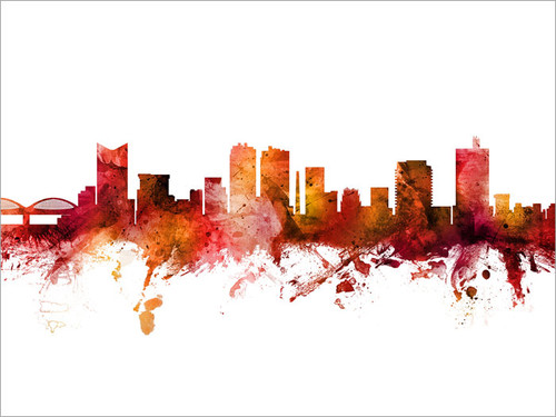 Fort Worth Texas Skyline Cityscape Poster Art Print