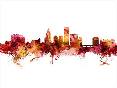 Providence Rhode Island Skyline Cityscape Poster Art Print