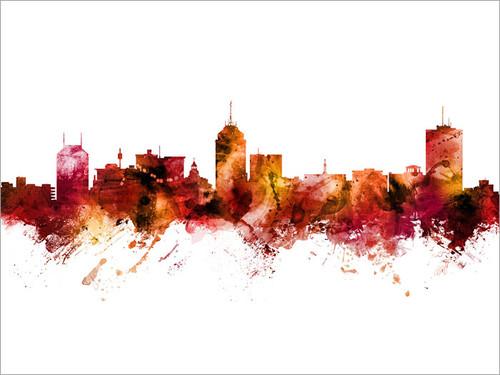 Fresno California Skyline Cityscape Poster Art Print