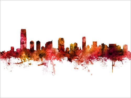 Jersey City New Jersey Skyline Cityscape Poster Art Print