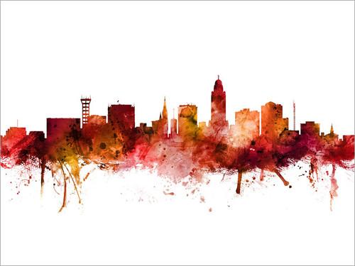 Lincoln Nebraska Skyline Cityscape Poster Art Print