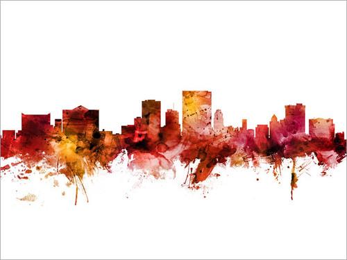 El Paso Texas Skyline Cityscape Poster Art Print