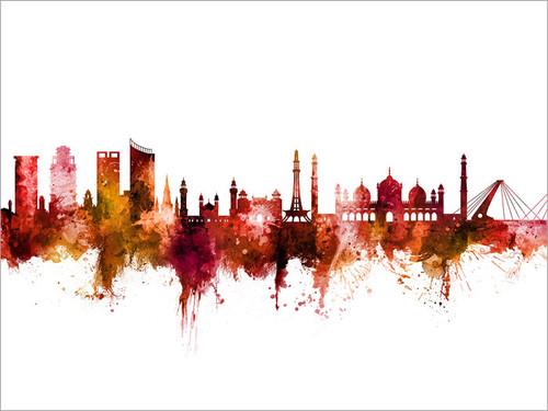 Lahore Pakistan Skyline Cityscape Poster Art Print