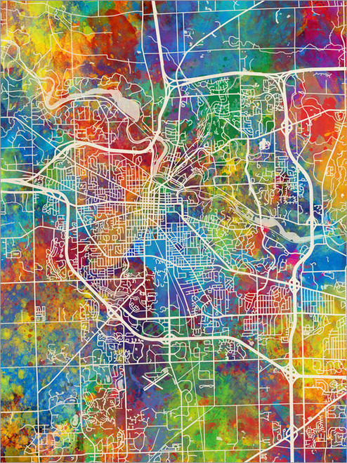 Ann Arbor Michigan Map Poster Art Print