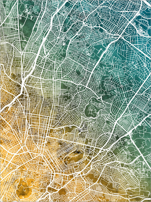 Athens Greece Map Poster Art Print