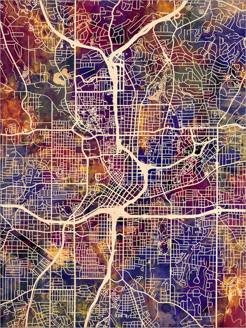 Atlanta Georgia Map Poster Art Print