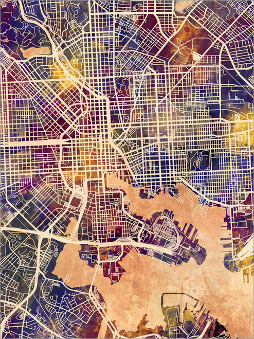 Baltimore Maryland Map Poster Art Print