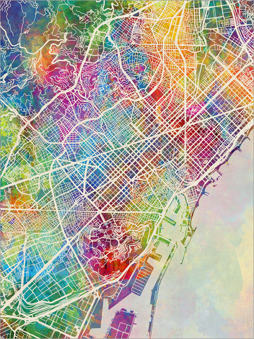 Barcelona Spain Map Poster Art Print