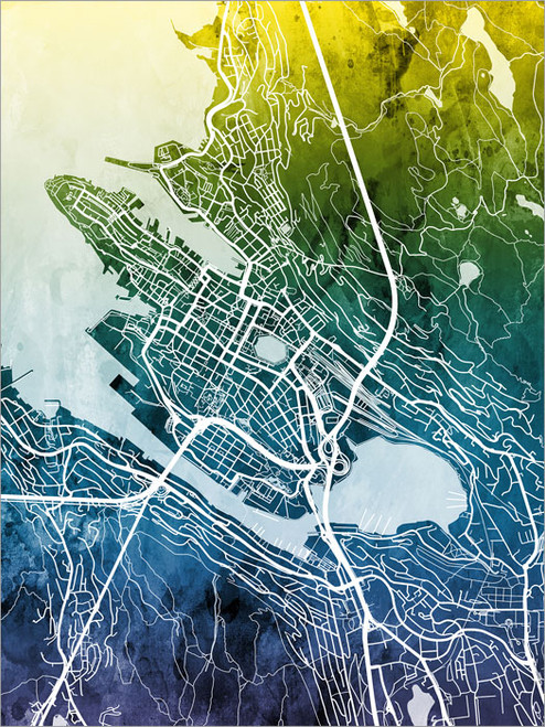 Bergen Norway Map Poster Art Print