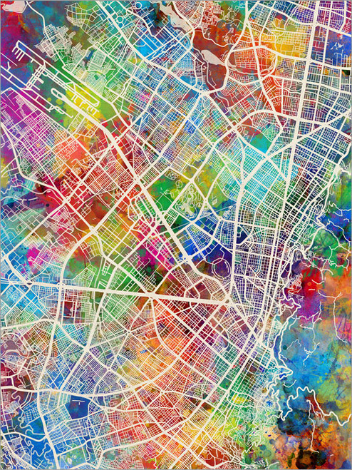 Bogota Colombia Map Poster Art Print