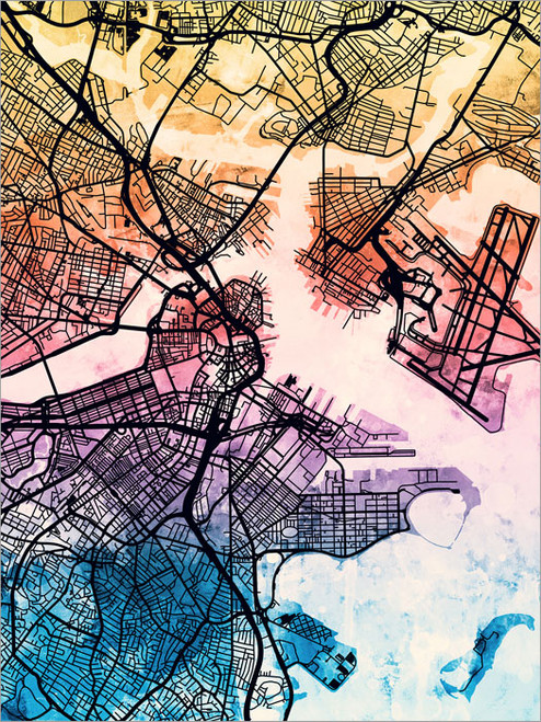 Boston Massachusetts Map Poster Art Print