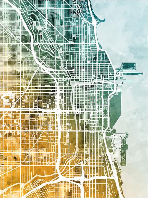 Chicago Illinois Map Poster Art Print