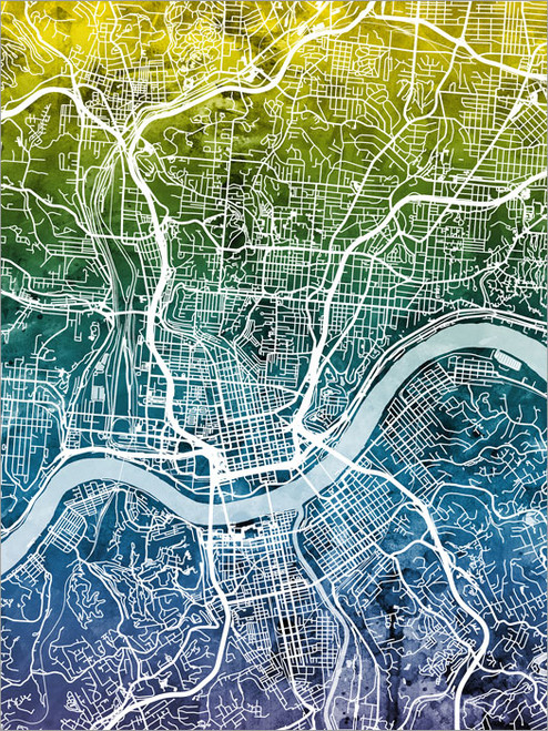 Cincinnati Ohio Map Poster Art Print