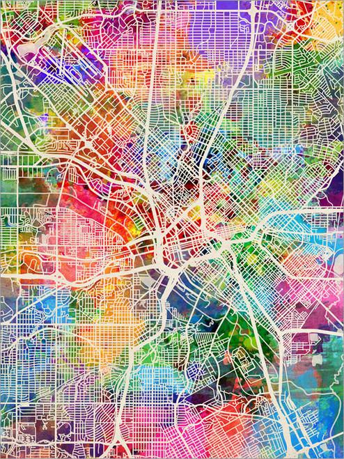 Dallas Texas Map Poster Art Print