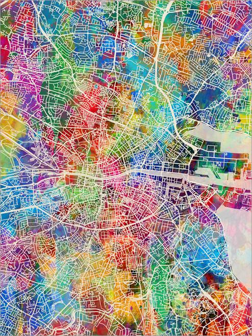 Dublin Ireland Map Poster Art Print
