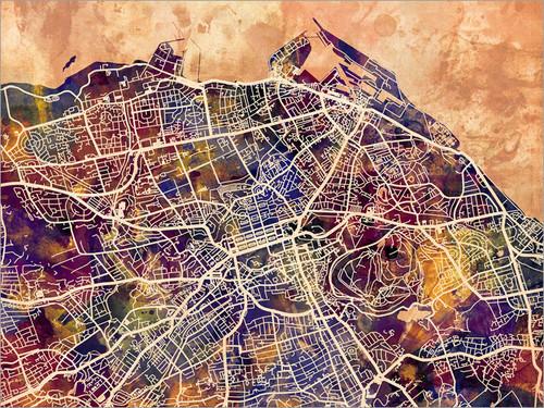 Edinburgh Scotland Map Poster Art Print