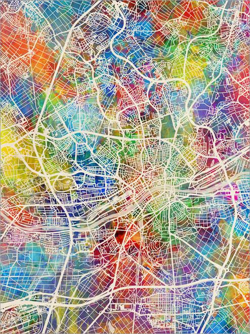 Frankfurt Germany Map Poster Art Print