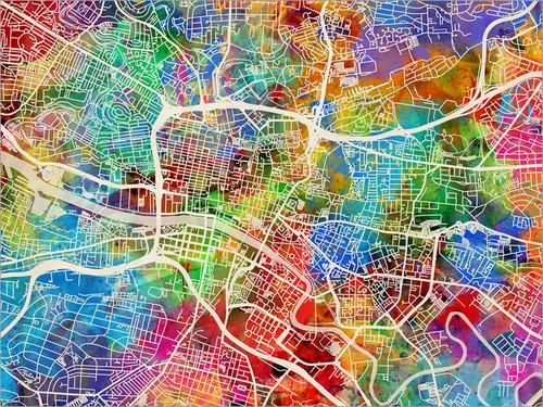 Glasgow Scotland Map Poster Art Print