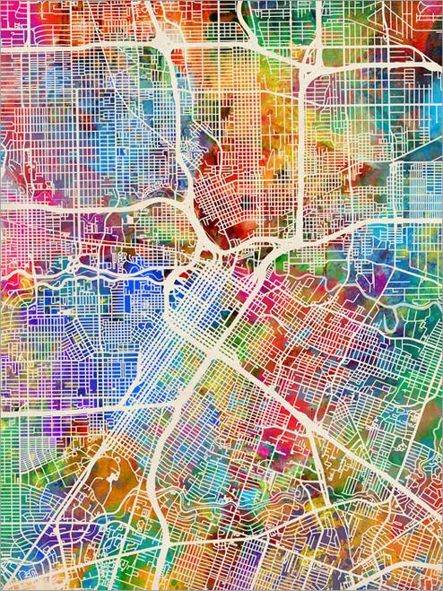 Houston Texas Map Poster Art Print